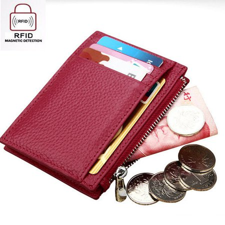 RFID Antimagnetic Cow Leather 8 Card Slots Card Holder Purse Wallet