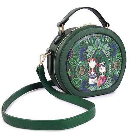 Women PU Leather Green Crossbody Bag Forest Series Printed Bucket Bag