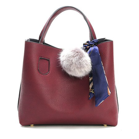 Women 2 PCS With Fuzzy Ball Crossbody Bag Dual-use Handbag