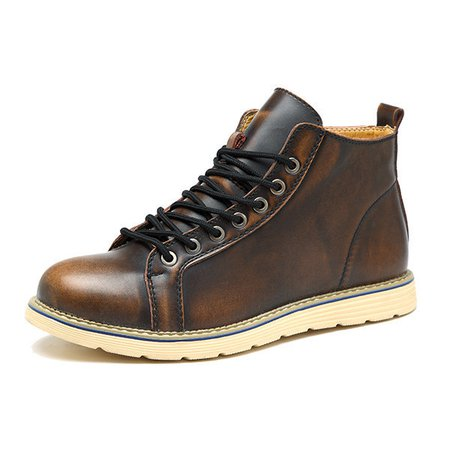 Large Size Vintage Color Match Ankle High Top Faux Leather British Style Boots