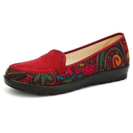 Big Size Floral Print Color Match National Wind Slip On Flat Loafer