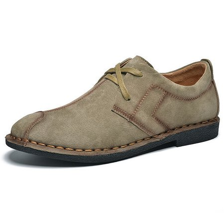 British Style Stiching Soft Lace Up Round Toe Casual Shoes For Men