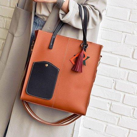 Women Stylish PU Leather Patchwork Handbag Tote Shoulder Crossbody Bags