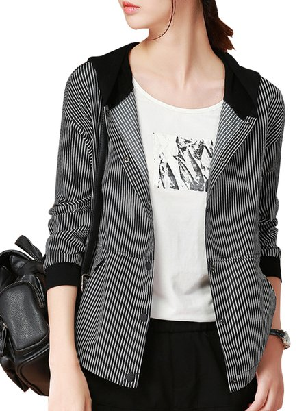 Women's Bomber Jacket Color Block Stripe Pattern Slim Blazer ...