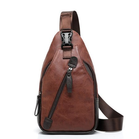 PU Faux Leather Casual Crossbody USB Charging Bag Chest Bag For Men