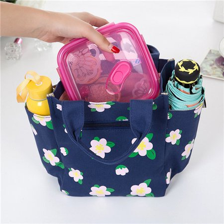Durable Canvas Lightweight Flower Pattern High Quality Lunch Storage Picnic Bags