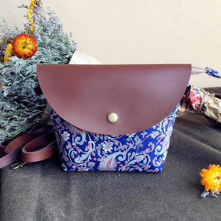 Women Canvas PU Leather Patchwork Floral Printed Mini Crossbody Bag