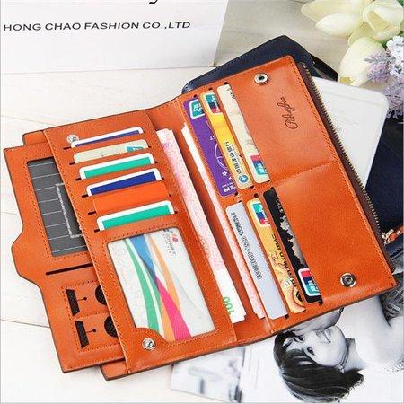 Women Oil Leather Ultrathin Wallet Bright PU Leather Phone Purse Wallet