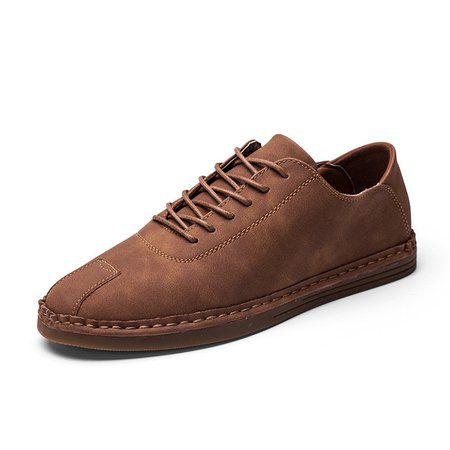 Men Stitching Microfiber Faux Leather Soft Sole Lace Up Casual Shoes