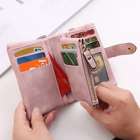 Women Casual Two-Fold Scrubs Purse 11 Card Slots Large Capacity Short Wallet