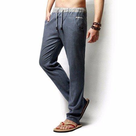 Mens Linen Solid Color Loose Long Flax Leisure Pants