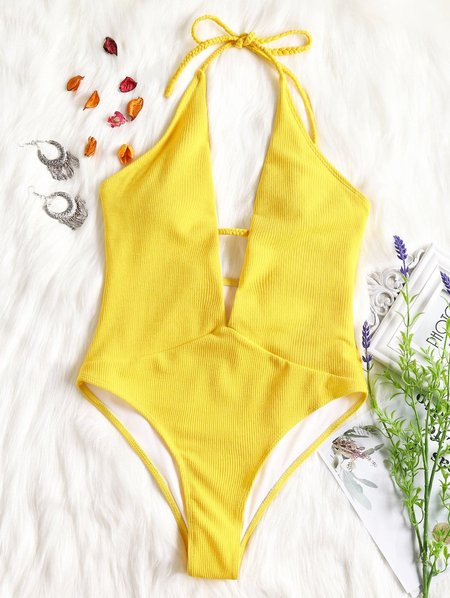 Ribbed Nylon Solid Padded Halter One-piece
