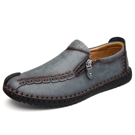 Men Hand Stitching Size Zipper Vintage Loafers