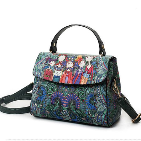 Women Retro Forest Printed PU Leather Green Cover Crossbody Bag