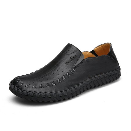 Men Hole Breathable Hand Stitching Soft Flat Slip On Casual Faux Leather Loafers
