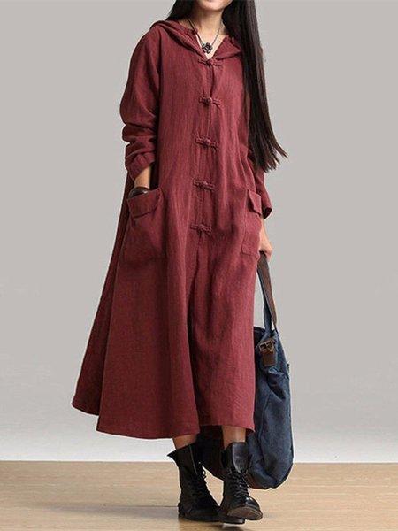 Women Vintage Dress Hoodie Swing Daytime Long Sleeve Vintage Dress
