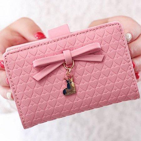 Women Multi-Card Purse Cute Bow Decoration Clip Ultra-Thin Card Holder