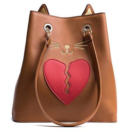 Women PU Leather Cute Kitty Cat Shape Handbag Heartbroken Pattern Shoulder Bag