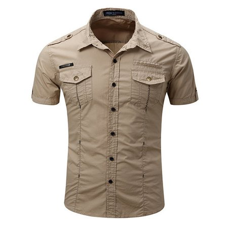 Outdoor Casual Washed Cargo Chest Pockets Band Collar Dress Shirts
