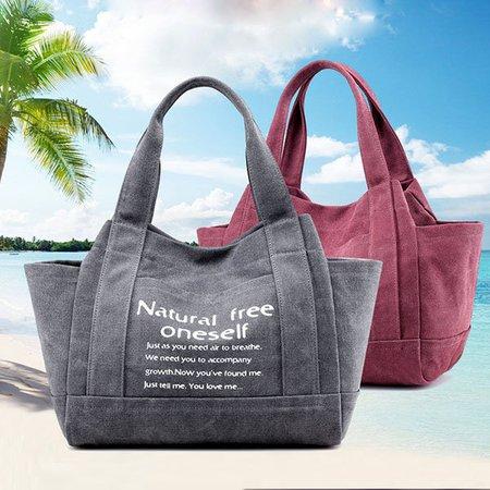 Canvas Casual Letter Printed Handbag Outdoor Shoulder Bag For Women