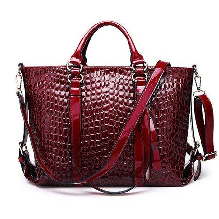 Women Crocodile Pattern Solid High Capacity Handbags Multi-Function Crossbody Bags