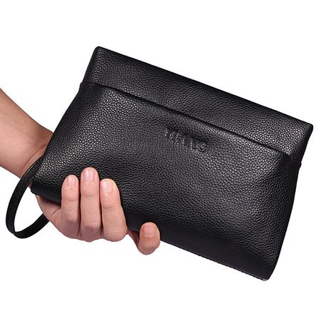 Faux Leather Clutch Bag First Layer Faux Leather Casual Business Wallet For Men