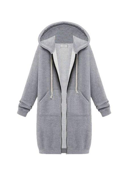 Drawstring Solid Long Sleeve Nylon Hoodie Coat