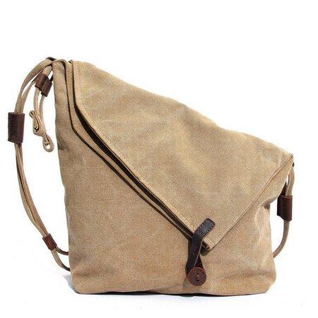 Irregular Vintage Messenger Bag Canvas Rucksack Crossbody Bag