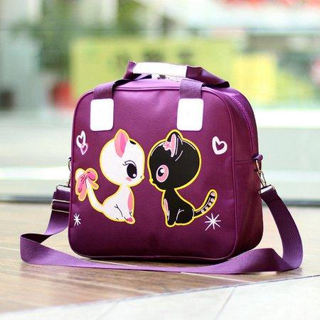 Women Lovely Cute Cartoon Pattern Duble-Cats Nylon Weekender Crossbody Bag