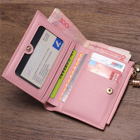 Women Tassel Golden Heart Decoration Candy Color Short Wallet Card Holder Purse