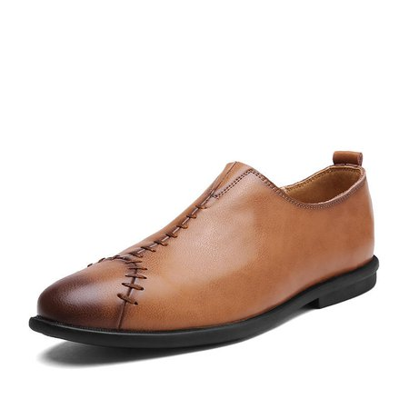 Comfy Men Casual Genuine Leather Cap Toe Hand Stitching Slip On Flat Loafers