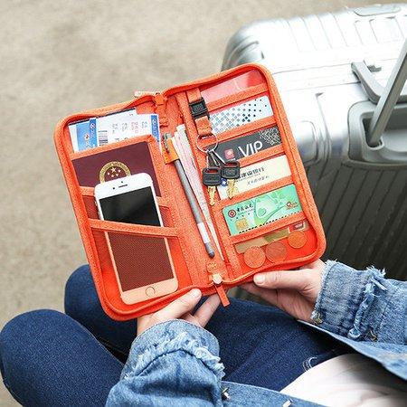 Women Men Nylon Passport Clutch Phone Bag Business Boarding Purse