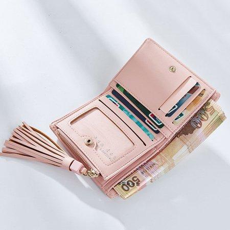Women Tassel Solid 9 Card Slot Card Holder PU Short Wallet Purse