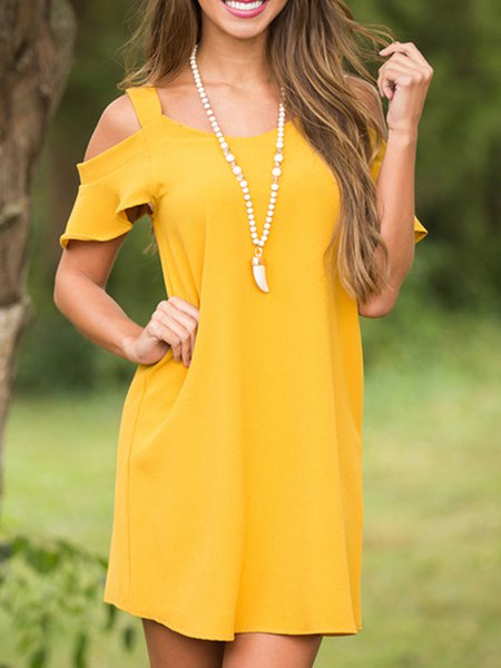 Yellow H-lineSpaghetti Cold Shoulder Dress