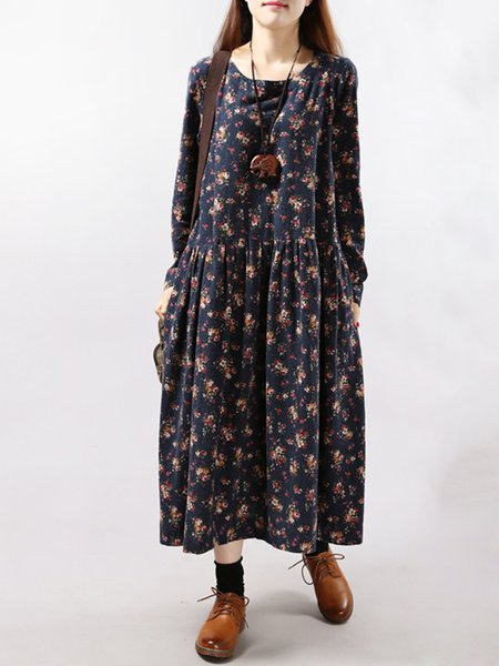 Navy Blue Floral Long Sleeve Casual Dress