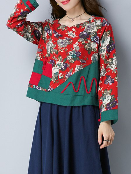 Red Printed Crew Neck Floral Long Sleeve Blouse