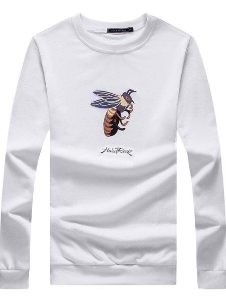 White Printed Long Sleeve Casual Sweatshirt