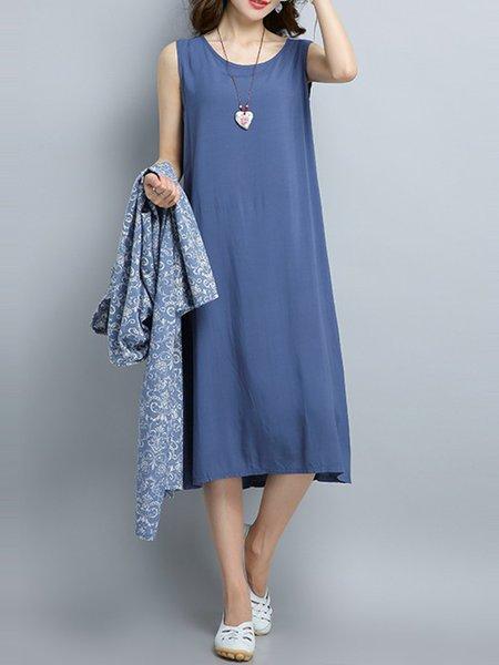 Blue Asymmetric Two Piece Pockets Casual Dress
