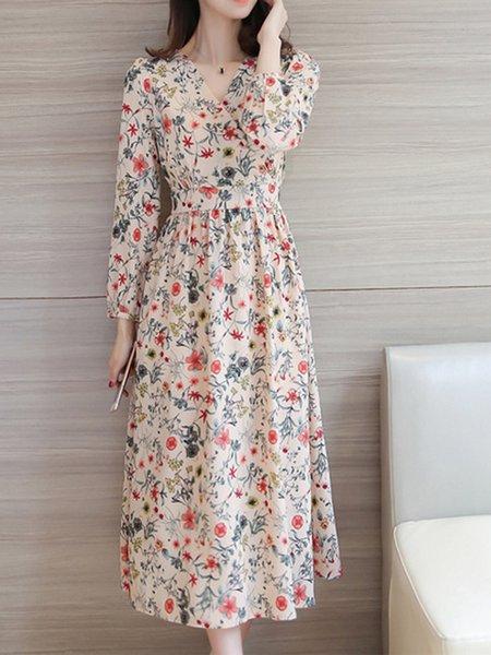 Beige V Neck Chiffon Casual Floral Print Dress