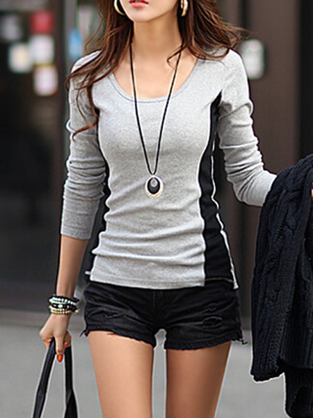Casual Long Sleeve Color-block H-line Crew Neck T-Shirt