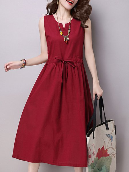Burgundy Women Casual Dress A-line Daytime Sleeveless Cotton Dress