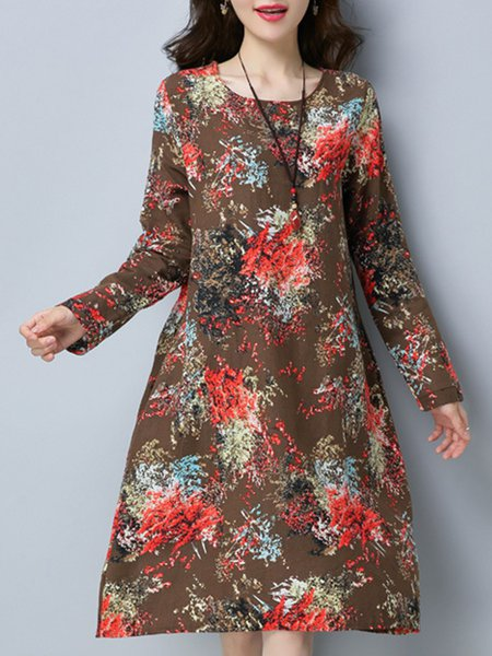 Floral Printed Long Sleeve Casual Linen Dress