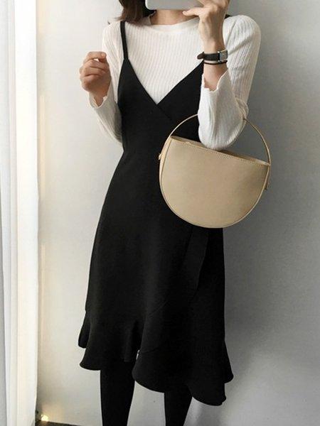 Black Elegant Crew Neck Sheath Dress
