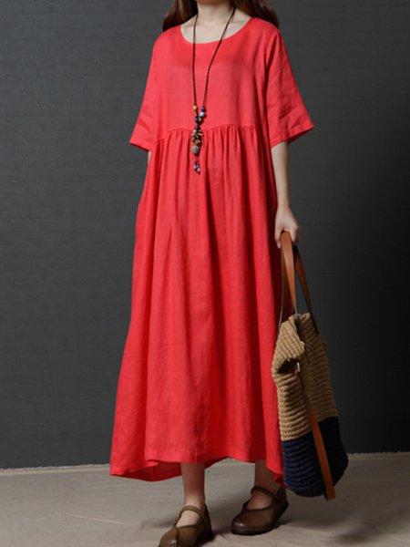 Women Casual Dress Crew Neck Shift Daily Half Sleeve Casual Dress