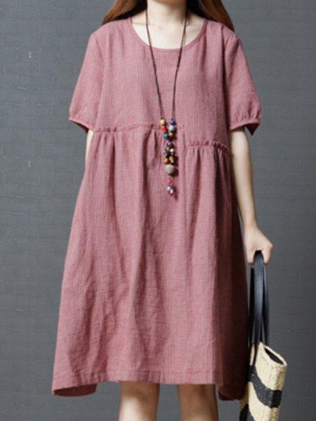 Women Casual Dress Crew Neck Shift Daytime Half Sleeve Plain Dress