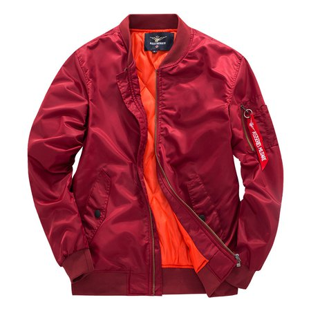 Burgundy Casual Pockets Jacket