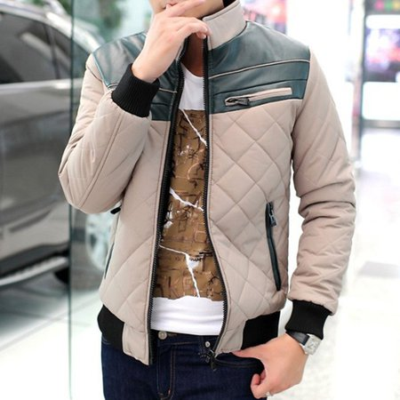 Khaki Casual Stand Collar Cotton Solid Jacket