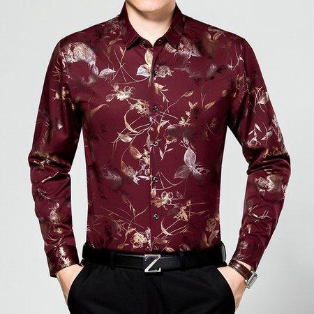 Long Sleeve Shirt Collar Work Printed Shirt