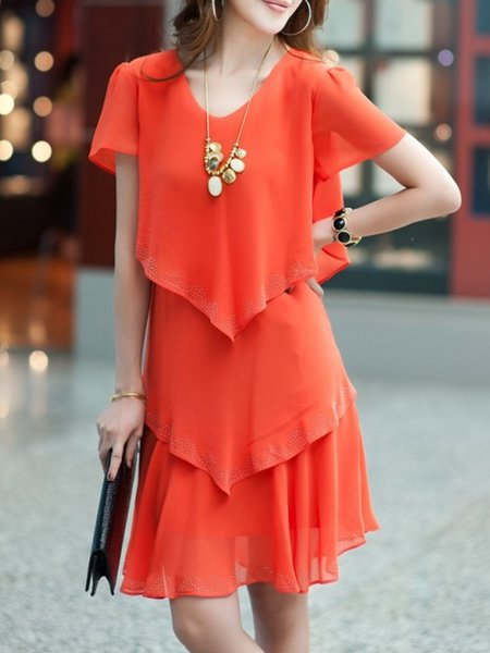 Orange A-line Tiered Solid Casual Chiffon Holiday Dress