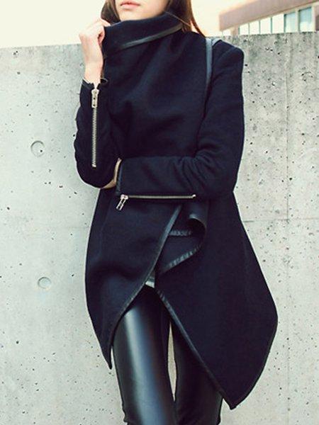 Black Zipper Shawl Collar Plain Long Sleeve Coat